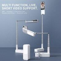 Soporte para teléfono portátil, soporte retráctil inalámbrico para transmisión en vivo, luz de relleno LED regulable, para selfis y vídeos