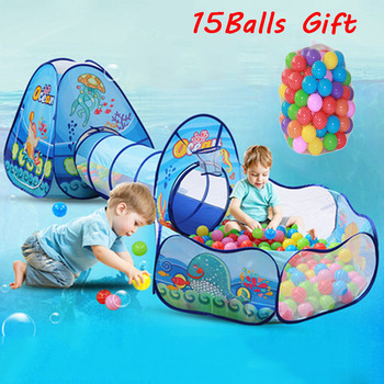 3Pcs/Set Children's Tent Kids Tipi Play House Toy Ball Pool Balls Pit with Crawling Tunnel Portable Tent for Kids Pop Up Teepee foldable pool tube teepee 3pcs pop up play tent toy children playing tunnel kids camping gaming house outdoor sports playhouse