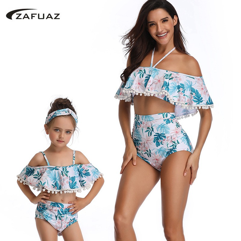 Mom Baby Ruffle Swimwear 2 Piece Swimsuit 2019 Vintage Print <font><b>Sexy</b></font> mommy and me Plus Size Beach Halter High Waist Bathing Suit <font><b>XL</b></font> image