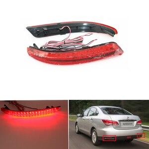Image 1 - Réflecteur de pare choc arrière pour Nissan Almera, aménagement pour voiture LED, accessoire, pour Stop antibrouillard, lampe davertissement, 2013 2015, 1 paire