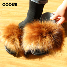 Hot Summer Women Shoes Raccoon Fur Slippers Faux Fur Slides Flat Indoor Flip Flop Ladies House Furry Plush Slipper Woman Sandals(China)