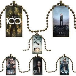 Glass Cabochon Jewelry Steel Color With Long Pendant Choker Rectangle Necklace For Women Choker TV Show The 100 Series