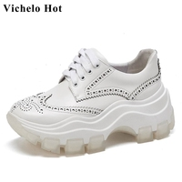 Vichelo Hot 2020 full grain leather round toe thick bottom white sneaker young lady lace up leisure women vulcanized shoes L20