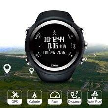 Erkekler dijital spor İzle Gps koşu izle hız hız mesafe kalori yakma kronometre su geçirmez 50M EZON T031