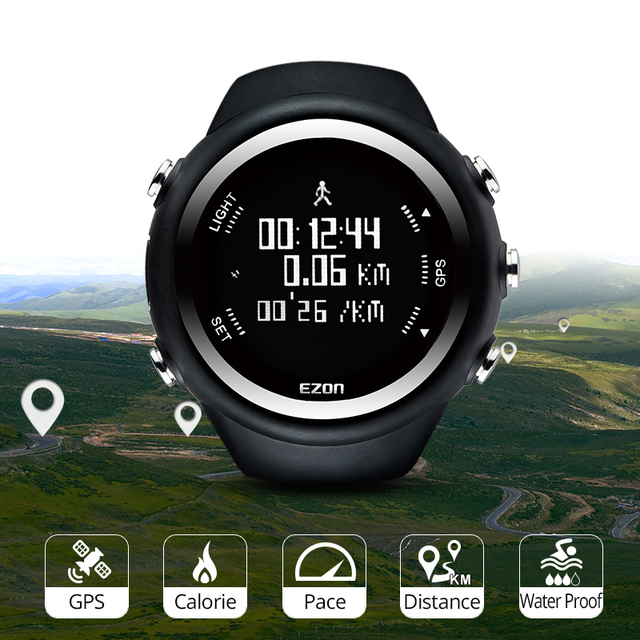 Mens  Digital  Sport Watch Gps Running Watch With Speed Pace Distance Calorie burning  Stopwatch Waterproof 50M EZON T031