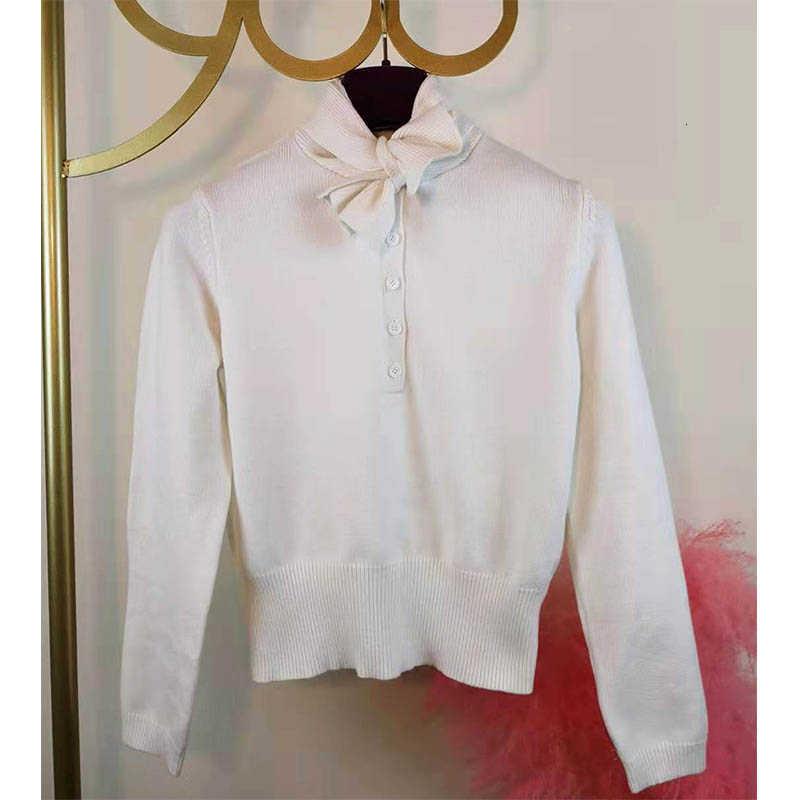 Cosmicchic moda 2019 sonbahar kış kadın kazak yün örme kazak uzun kollu yay yaka kısa Jumper 2 yollu kadın gömlek