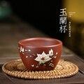 Yixing-tasse de sable pourpre peinte à la main | Minerai de soulier  tasse de thé en argile violette  tasse de thé kung fu master  tasse de magnolia