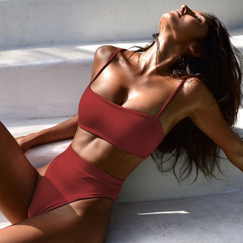 High Waist Bikini Set red