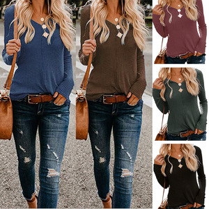 2020 Women S-XXL Soft Long Sleeve V-neck Shirts Street Style Cool Casual Female Solid Color Slim Streetwear Blouse Tops