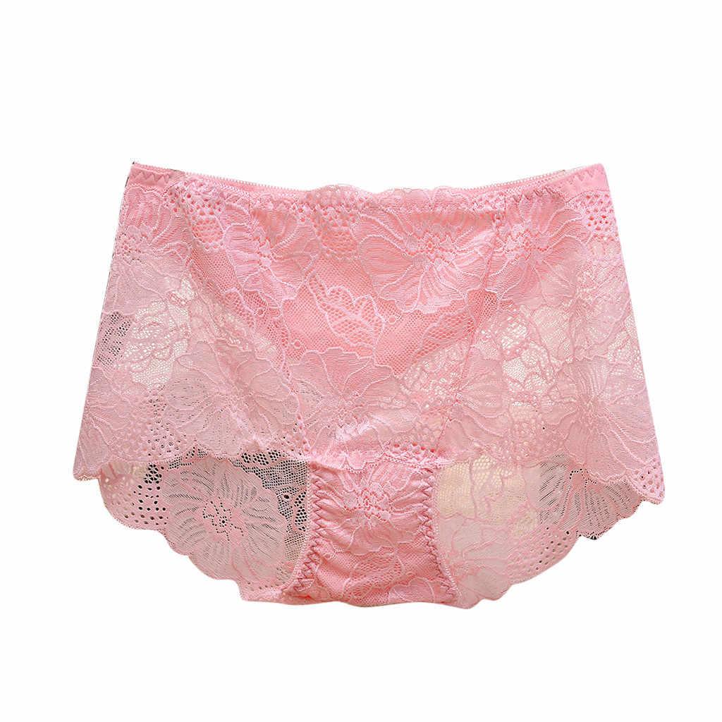 סקסי כותנה חלול תחרה נשים תחתוני גבירותיי Underpant עם מותניים גבוהים ירך חדשה חלקה אופנתיים יומיומיים תחתונים