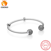 100% Real 925 Sterling Silver Charm Bracelet Wedding Jewelry Shining Open Bracelets Bangle for Women Fashion DIY Making gift ZY8 ztung hb20 charm bracelets classic 925 sterling silver have many color for women s girls wonderful gift jewelry bangle