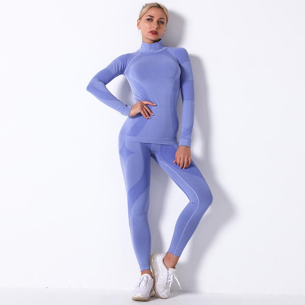 Women Thermal Underwear Suit Spring Autumn Winter Quick Dry Thermo Turtleneck Underwear Sets Female Fitness Knitted Long Johns