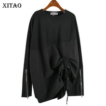 Top Women Tshirt Fashion Long-Sleeve Harajuku Plus-Size XITAO Zipper WLD2857 Splice Pleated