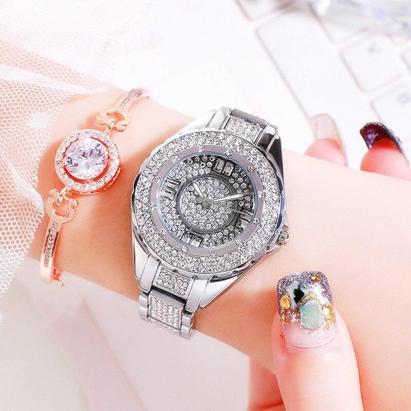 Image 3 - 2020 Hot Sale Women Watches Lady Diamond Stone Dress Watch Gold Silver Stainless Steel Rhineston Wristwatch Female Crystal WatchWomens Watches   -