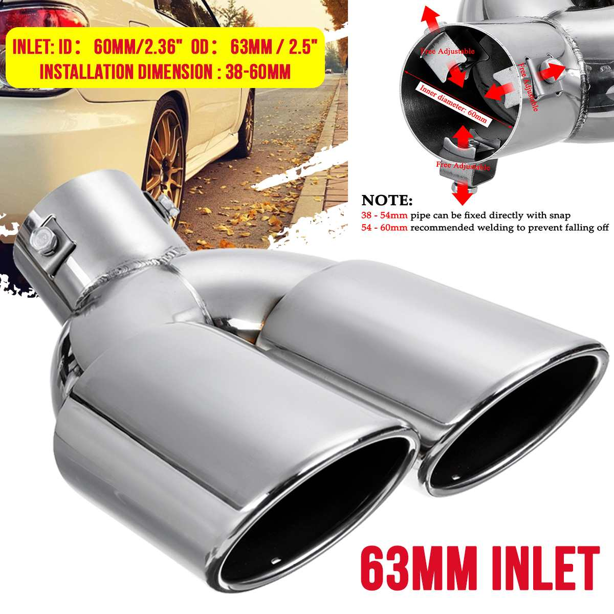 38-60mm Universial Double Outlet Stainless Steel Chrome Car Muffler Exhaust Pipe Tip End Trim Modified Tail Throat Liner Pipe image
