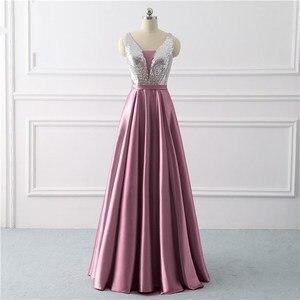 Image 3 - Beleza emily sequined uma linha cinza vestidos de noite 2020 longo decote em v vestidos de noite formais festa de formatura formal vestidos de festa