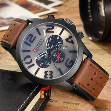 Mens Watches CURREN Top Brand Luxury Waterproof Big number Date Quartz Watch Man Fashion Leather Sport Wrist Watch Men Clock(China)