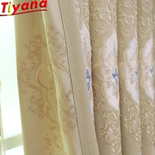 Luxury Embroidered Curtains Tulle Living Room European Villa Beige High-grade Delicate Window Drapes M122#40