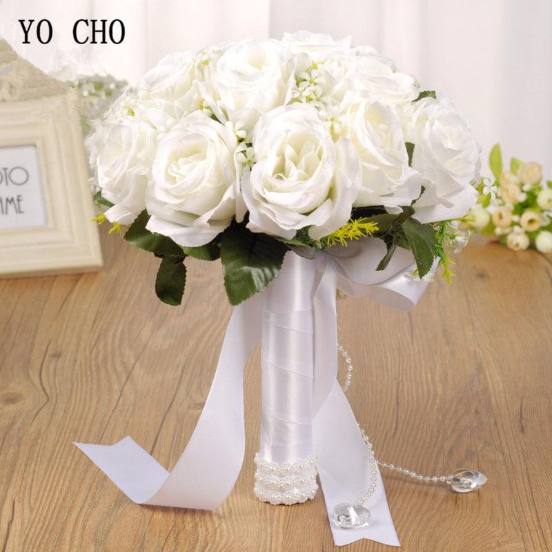 YO CHO Bouquet Bride Wedding Flower Artificial Silk Rose Bouquet White Fake Pearl Crystal Bridesmaid Party Prom Wedding Supplies