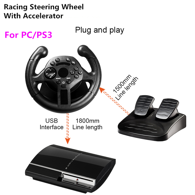 RETROMAX Racing Steering Wheel With Accelerator For PC/PS3 High Rolling Sense Driving Steering Wheel For Computer/PlayStation3