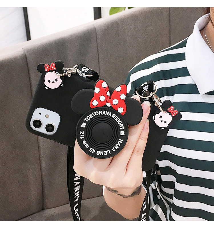 3D Cartoon Minnie Camera Bracket Phone Case For Iphone 11 Pro Max XR XS Max 6 6S 7 8 Plus Crossbody Strap Lanyard Silicone Cover