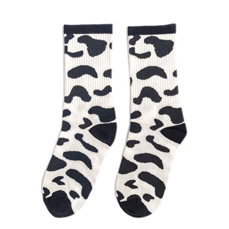 2020 New Japanese Women Girls Harajuku Animal Stripes Milk Cow Printed Long Crew Socks
