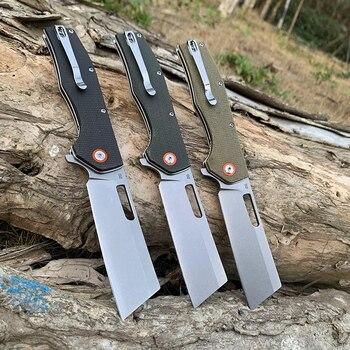 TUNAFIRE folding knife D2 stone wash blade High-end linen (Micarta) outdoor camping hiking self-defense tool pocket knife 2