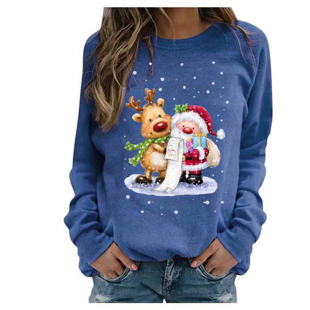 #2020 Fashion Christmas Women's Sweaters Christmas Print Long-sleeved Sweaters Casual Top Loose Sweaters Pullover Female свитер 5