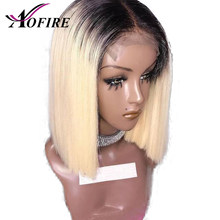 Ombre 1B 613 Blonde Lace Front Wig Pre Plucked With Baby Hair Brazilian Remy Human Hair Wigs Short Bob Wigs For Blank Women(China)