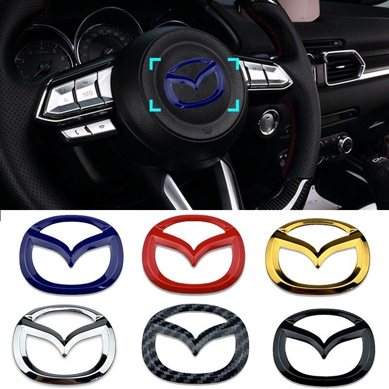 Autocollants de volant de voiture pour Mazda Logo style Atenza Axela CX4 CX5 Badge décalcomanies intérieur Auto décoration Chic emblème décalcomanie