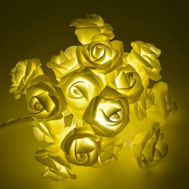 Rose Flower LED String Lights Battery Operated Christmas Holiday Lights For Valentine Wedding Decoration,3 Meter 20 Led Warm Whi
