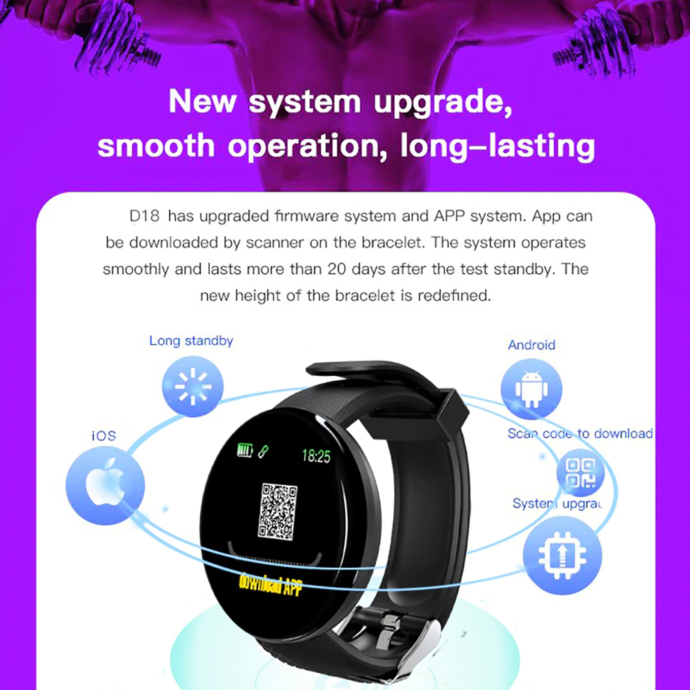 D18 Smart Watch Sleep Tracker Heart Rate Tracker SmartWatch Men Women Blood Pressure Sport Round Smartwatch Blood Oxygen Watch
