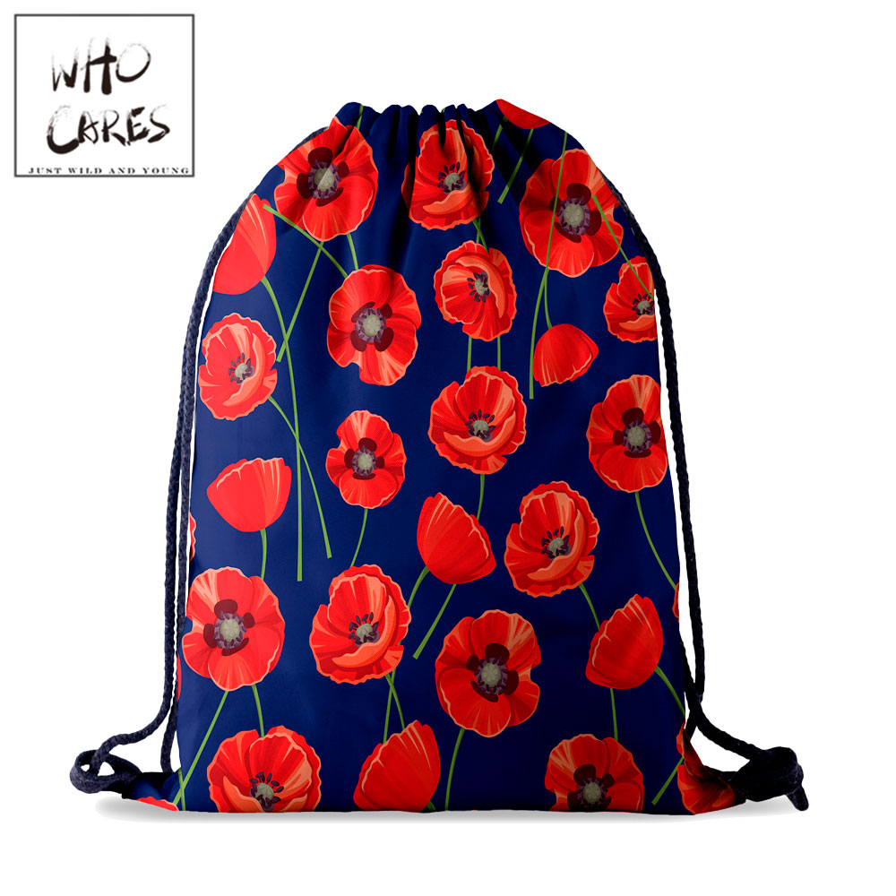 Who Cares Flower Drawstring Bag Backpack Women Waterproof Travel Simple Natural 3D Printing For Girl Draw String Bags Fashion