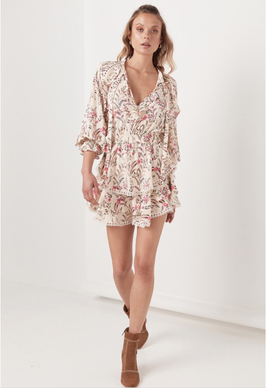 Women <font><b>Boho</b></font> <font><b>Dress</b></font> Womens <font><b>Sexy</b></font> <font><b>Elegant</b></font> V Neck Floral Print Long Sleeve Ruffle Mini <font><b>Dresses</b></font> Female Casual <font><b>Beach</b></font> Sundress image