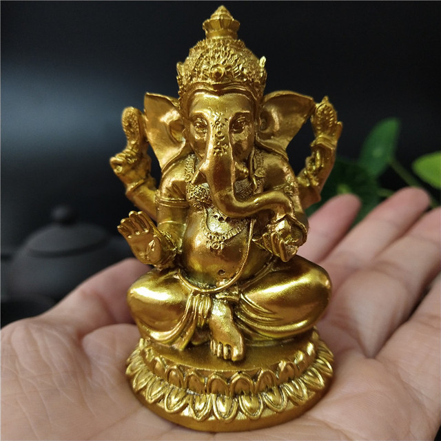 Golden Ganesha Statue Buddha Elephant God Sculpture Ganesh Figurines Resin Craft Home Garden Flowerpot Decoration Buddha Statues 4