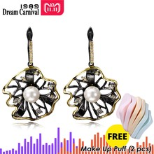 DreamCarnival 1989 Lotus Flower Earrings Hollow Created Pearl CZ Black Gold Color Hip Hop Pendientes tipo gota Parties Jewelries(China)