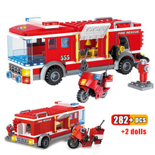 282pcs Fire Fighting Trucks Building Blocks Large fire truck City Firefighter figures man Educational Bricks Toys for Children large size 90pcs fire station fire engine model building blocks bricks fireman figure kids educational toys compatible duploe