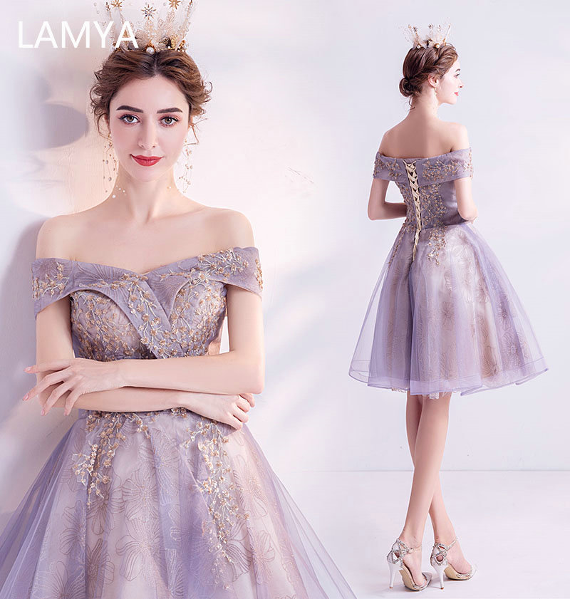 LAMYA Elegant Golden Sequined Prom Dresses Boat Neck Evening Party Dress Knee Length Ball Gown Formal Gown Beads Robe De Soiree