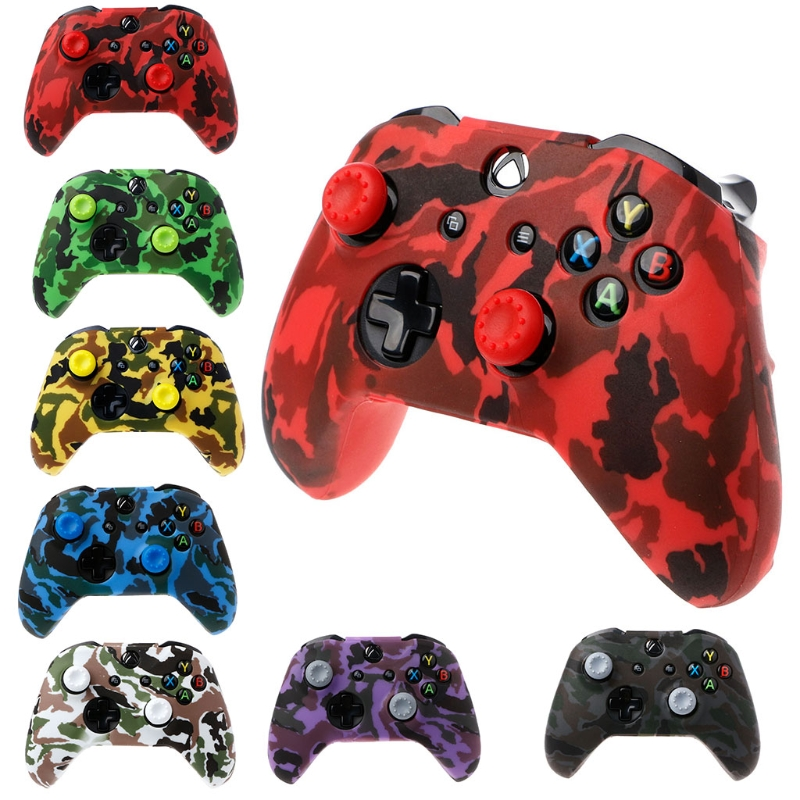 Camouflage Silicone Gamepad Cover + 2 Joystick Caps For XBox One X S Controller image