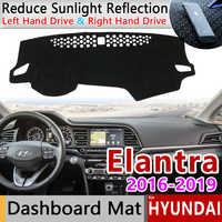 Pour Hyundai Elantra 2016 2017 2018 2019 AD Avante tapis anti-dérapant tableau de bord couverture Pad parasol Dashmat Anti-UV tapis accessoires