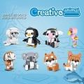 Креативные мини-блоки, аниме, фигурки животных, Шиба Пингвин коала фламинго, развивающие кирпичи, игрушки для детей