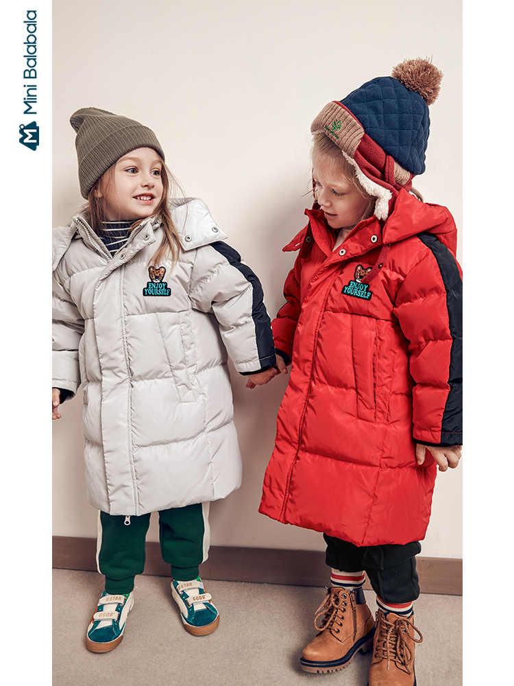 Minibalabala ילדים למטה מעיל 2019 החורף חדש בנים ובנות ארוך תינוק ברדס למטה מעיל