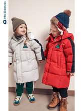 Minibalabala Children down jacket 2019 winter new boys and girls long baby hooded down jacket(China)