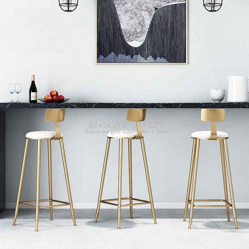21%Nordic Simple Gold Bar Chair Dessert Shop Coffee Restaurant Lounge Chair Backrest High Stool Bar Bar Stool