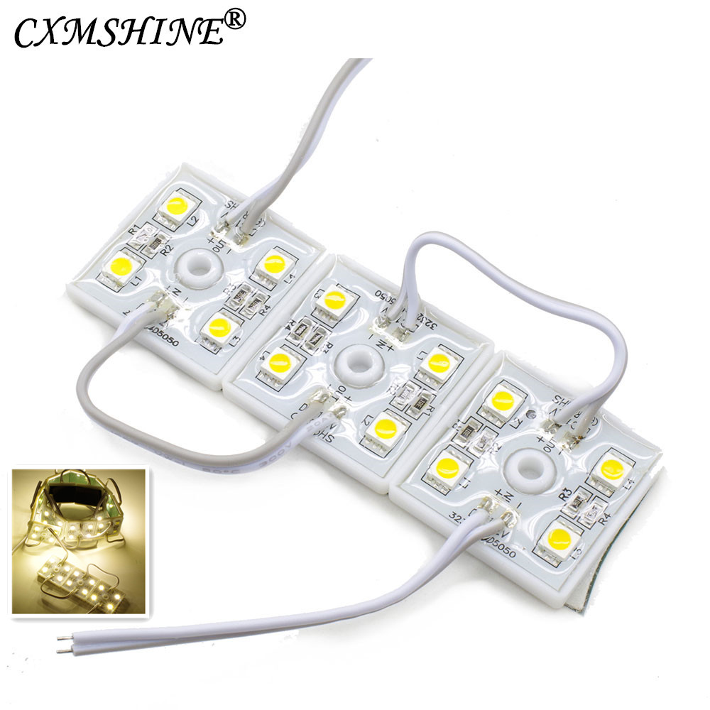 100pcs DC12V 5050 <font><b>4</b></font> <font><b>LED</b></font> <font><b>Modules</b></font> White/Warm White IP65 Waterproof for <font><b>LED</b></font> Signs Advertisements image
