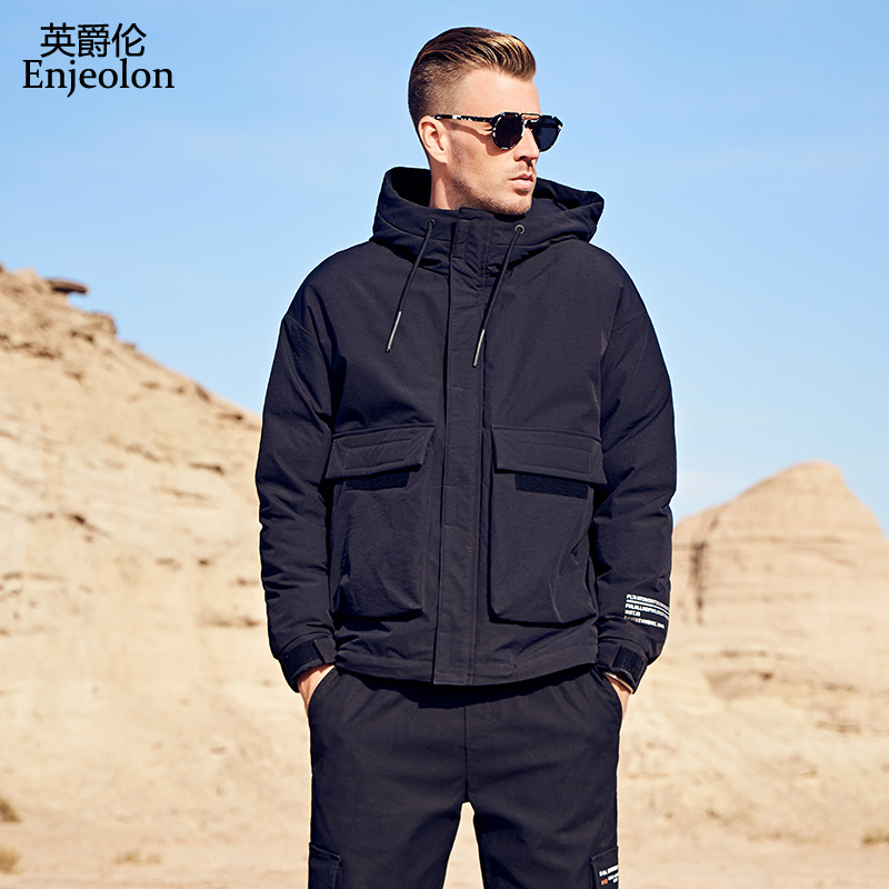 Enjeolon Brand 2019 Winter Jacket Men Hooded Thick White Duck Down Parka Coat Casual Slim Pockets Down Mens Overcoat YR928