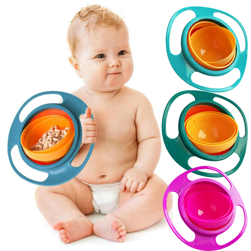 Universal Gyro Bowl 360 Rotate Spill-Proof Baby Feeding Dish Cute Baby Gyro Bowl Children's Baby Tableware Baby UFO Bowl