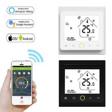 Inteligentny termostat regulator temperatury do wody 95 ~ 250V WiFi elektryczne ogrzewanie podłogowe kocioł gazowy współpracuje z Alexa Google Home tanie tanio CN (pochodzenie) 3A 16A BHT-002WiFi intelligent thermostat temperature controller 95~250V 50 60Hz GB 16A GA GC 3A 1 5W