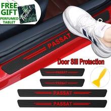 4 pçs corpo do carro de fibra carbono protetor do peitoril da porta decalques adesivos para volkswagen vw passat b6 b5 b7 b8 cc golf tiguan acessórios