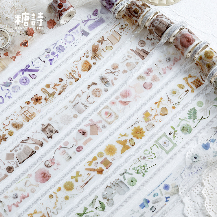 2 Rolls/pack Flower Tree Angel Washi Tape DIY Decorative Scrapbooking Masking Tape Adhesive Label Sticker Tape Stationery